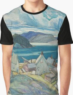 Franklin Carmichael - Jackfish Village 1926. Country landscape: village view, country, buildings, house, rustic, farm, field, countryside road, trees, garden, flowers Graphic T-Shirt