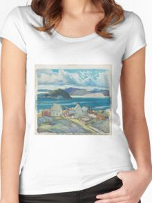Franklin Carmichael - Jackfish Village 1926. Country landscape: village view, country, buildings, house, rustic, farm, field, countryside road, trees, garden, flowers Women's Fitted Scoop T-Shirt