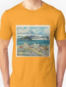 Franklin Carmichael - Jackfish Village 1926. Country landscape: village view, country, buildings, house, rustic, farm, field, countryside road, trees, garden, flowers Unisex T-Shirt
