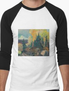 Franklin Carmichael - Bay Of Islands . Mountains landscape: mountains, rocks, rocky nature, sky and clouds, trees, peak, forest, rustic, hill, travel, hillside Men's Baseball ¾ T-Shirt