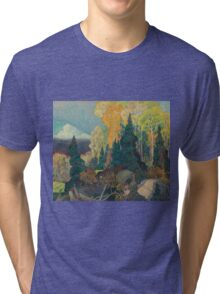 Franklin Carmichael - Bay Of Islands . Mountains landscape: mountains, rocks, rocky nature, sky and clouds, trees, peak, forest, rustic, hill, travel, hillside Tri-blend T-Shirt