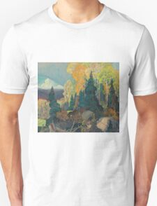 Franklin Carmichael - Bay Of Islands . Mountains landscape: mountains, rocks, rocky nature, sky and clouds, trees, peak, forest, rustic, hill, travel, hillside Unisex T-Shirt