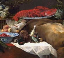 Frans Snyders - Pantry Scene With Servant. hunting scenes painting: hunting man, nature, male, forest, wild life, masculine, dogs, hunt, manly, hunters men, hunter Sticker