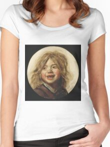 Frans Hals - Laughing Child 1620. Child portrait: cute baby, kid, children, pretty angel, child, kids, lovely family, boys and girls, boy and girl, mom mum mammy mam, childhood Women's Fitted Scoop T-Shirt