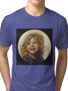 Frans Hals - Laughing Child 1620. Child portrait: cute baby, kid, children, pretty angel, child, kids, lovely family, boys and girls, boy and girl, mom mum mammy mam, childhood Tri-blend T-Shirt