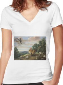 Frans Snyders - A Hawk And A Brood Hen 1646. Bird painting: cute fowl, fly, wings, lucky, pets, wild life, animal, birds, little small, bird, nature Women's Fitted V-Neck T-Shirt