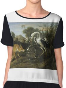 Frans Snyders - Fable Of The Fox And The Heron. Bird painting: cute fowl, fly, wings, lucky, pets, wild life, animal, birds, little small, bird, nature Chiffon Top