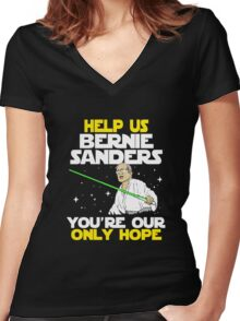 FUNNY HELP US BERNIE - TSHIRT BEST GIFT IDEA FOR MEN AND WOMEN Women's Fitted V-Neck T-Shirt