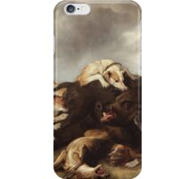 Frans Snyders - The Boar Hunt 1650. hunting scenes painting: cute dog, dogs, doggy, lucky, pets, wild life, animal, smile, little small, kids, nature iPhone Case/Skin