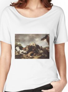 Frans Snyders - The Boar Hunt 1650. hunting scenes painting: cute dog, dogs, doggy, lucky, pets, wild life, animal, smile, little small, kids, nature Women's Relaxed Fit T-Shirt