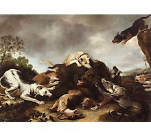 Frans Snyders - The Boar Hunt 1650. hunting scenes painting: cute dog, dogs, doggy, lucky, pets, wild life, animal, smile, little small, kids, nature Photographic Print