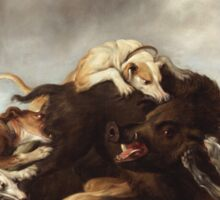 Frans Snyders - The Boar Hunt 1650. hunting scenes painting: cute dog, dogs, doggy, lucky, pets, wild life, animal, smile, little small, kids, nature Sticker