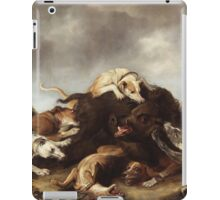Frans Snyders - The Boar Hunt 1650. hunting scenes painting: cute dog, dogs, doggy, lucky, pets, wild life, animal, smile, little small, kids, nature iPad Case/Skin