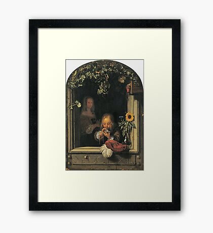 Frans Van Mieris The Elder - Boy Blowing Bubbles 1663 . Child portrait: cute baby, kid, children, pretty angel, child, kids, lovely family, boys and girls, boy and girl, mom mum mammy mam, childhood Framed Print