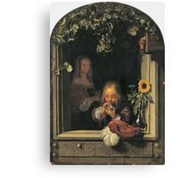 Frans Van Mieris The Elder - Boy Blowing Bubbles 1663 . Child portrait: cute baby, kid, children, pretty angel, child, kids, lovely family, boys and girls, boy and girl, mom mum mammy mam, childhood Canvas Print