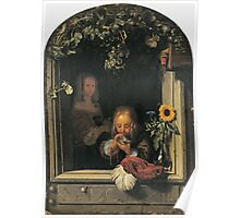 Frans Van Mieris The Elder - Boy Blowing Bubbles 1663 . Child portrait: cute baby, kid, children, pretty angel, child, kids, lovely family, boys and girls, boy and girl, mom mum mammy mam, childhood Poster