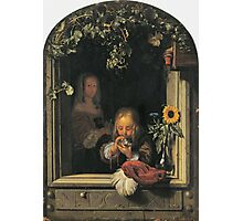 Frans Van Mieris The Elder - Boy Blowing Bubbles 1663 . Child portrait: cute baby, kid, children, pretty angel, child, kids, lovely family, boys and girls, boy and girl, mom mum mammy mam, childhood Photographic Print