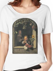 Frans Van Mieris The Elder - Boy Blowing Bubbles 1663 . Child portrait: cute baby, kid, children, pretty angel, child, kids, lovely family, boys and girls, boy and girl, mom mum mammy mam, childhood Women's Relaxed Fit T-Shirt
