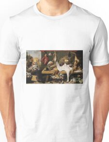 Frans Snyders - Market Scene On A Quaycir 1635 . hunting scenes painting: hunting man, nature, male, forest, wild life, masculine, dogs, hunt, manly, hunters men, hunter Unisex T-Shirt
