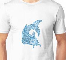 Koi Nishikigoi Carp Fish Diving Down Drawing Unisex T-Shirt