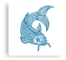 Koi Nishikigoi Carp Fish Diving Down Drawing Canvas Print