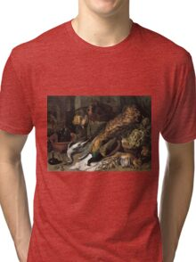 Frans Snyders - Still Life With A Wine Cooler 1610 - 1620 . hunting scenes painting: hunting man, nature, male, forest, wild life, masculine, dogs, hunt, manly, hunters men, hunter Tri-blend T-Shirt