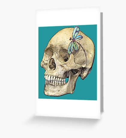 Skull & Dragonfly Turquoise/White Greeting Card