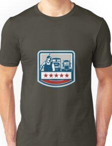 Power Washer Worker Truck Train Crest Retro Unisex T-Shirt