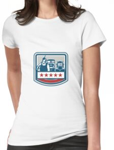 Power Washer Worker Truck Train Crest Retro Womens Fitted T-Shirt