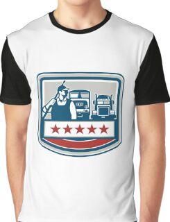 Power Washer Worker Truck Train Crest Retro Graphic T-Shirt