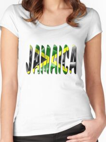 Jamaica Flag Texture Word Women's Fitted Scoop T-Shirt