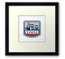 Power Washer Worker Truck Train Crest Retro Framed Print