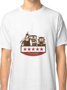 Power Washer Worker Truck Train Stars Retro Classic T-Shirt