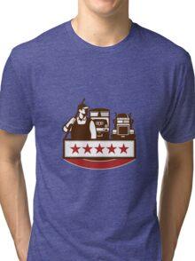 Power Washer Worker Truck Train Stars Retro Tri-blend T-Shirt