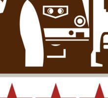 Power Washer Worker Truck Train Stars Retro Sticker