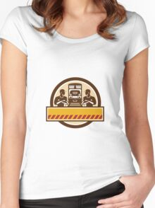Train Engineers Arms Crossed Diesel Train Circle Retro Women's Fitted Scoop T-Shirt
