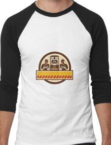 Train Engineers Arms Crossed Diesel Train Circle Retro Men's Baseball ¾ T-Shirt
