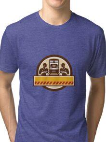 Train Engineers Arms Crossed Diesel Train Circle Retro Tri-blend T-Shirt