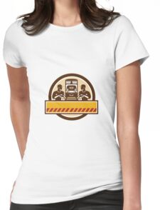 Train Engineers Arms Crossed Diesel Train Circle Retro Womens Fitted T-Shirt