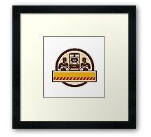 Train Engineers Arms Crossed Diesel Train Circle Retro Framed Print