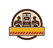 Train Engineers Arms Crossed Diesel Train Circle Retro Photographic Print