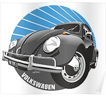 Sixties VW Beetle black Poster