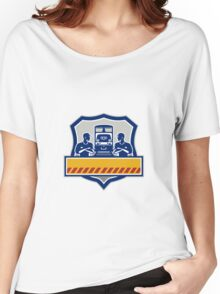 Train Engineers Arms Crossed Diesel Train Crest Retro Women's Relaxed Fit T-Shirt