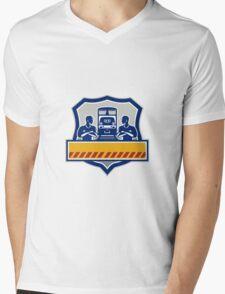 Train Engineers Arms Crossed Diesel Train Crest Retro Mens V-Neck T-Shirt