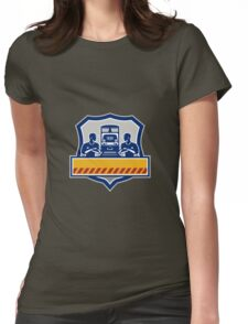 Train Engineers Arms Crossed Diesel Train Crest Retro Womens Fitted T-Shirt