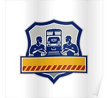 Train Engineers Arms Crossed Diesel Train Crest Retro Poster