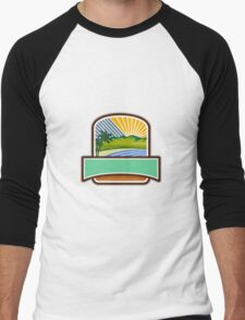Tropical Trees Mountains Sea Coast Crest Retro Men's Baseball ¾ T-Shirt
