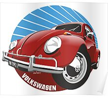 Sixties VW Beetle red Poster