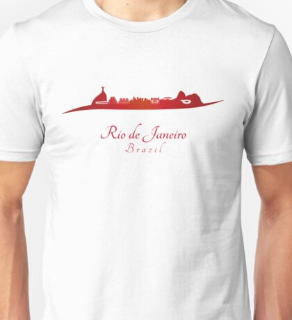 Rio de Janeiro skyline in red and gray background Unisex T-Shirt