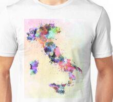 Italy map watercolor style splash Unisex T-Shirt